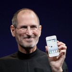 Steve Jobs shows off the white iPhone 4 at the 2010 Worldwide Developers Conference