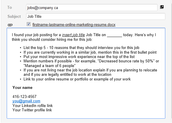Writing an email to a company for a job