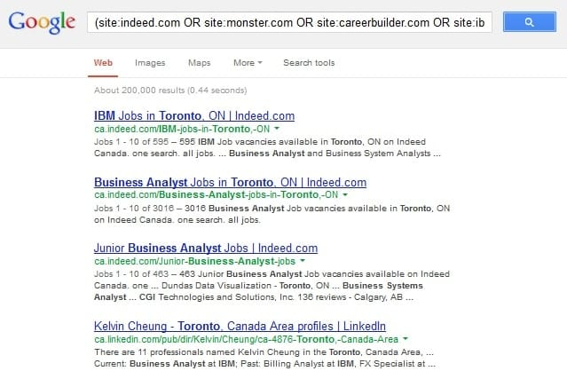 Google search results from the Boolean search example in step 3.