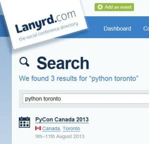 Searching Lanyrd for Python events in Toronto