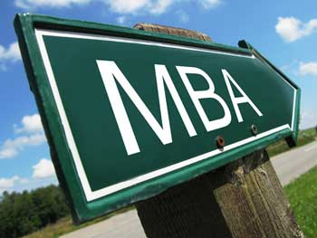 MBA road sign pointing to the future
