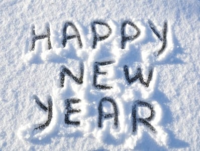 Happy New Year written in the snow